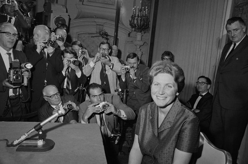 Svetlana Alliluyeva, daughter of the late Russian dictator, Joseph Stalin, at her press conference on April 26, 1967.