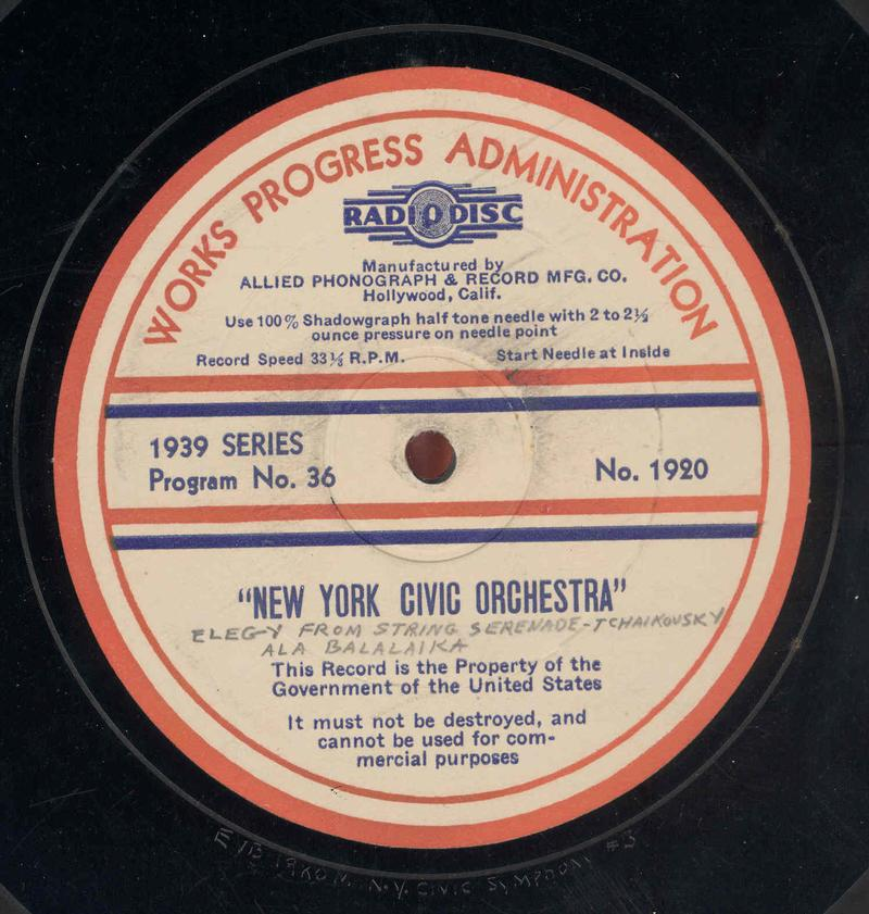"Label from a 16"" WPA Federal Music Project Radio Division transcription disc"
