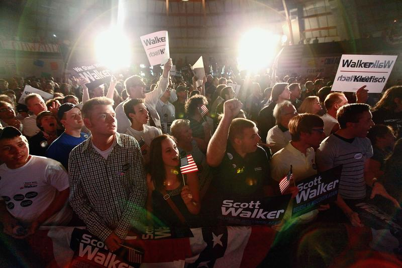Supporters of Governor Scott Walker gather to celebrate his victory in the Wisconsin recall election.