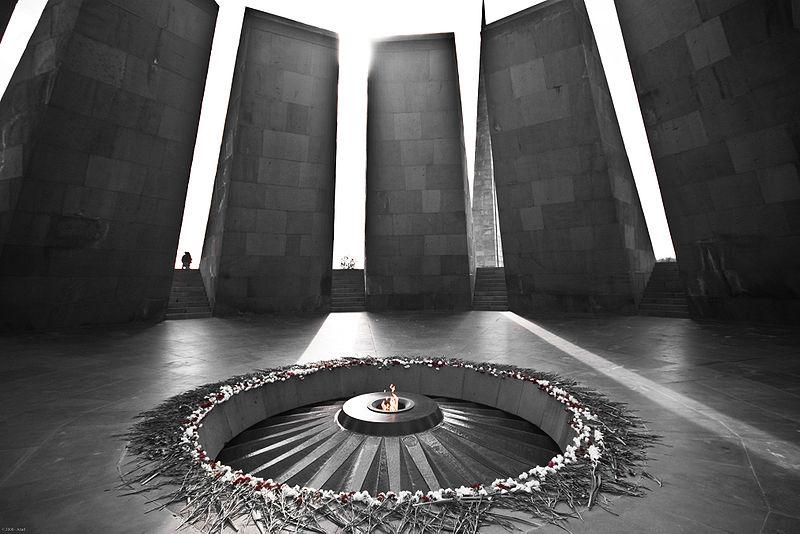 A photo of Tsitsernakaberd, a memorial dedicated to the victims of what Armenians call the Armenian Genocide, in Yerevan, Armenia