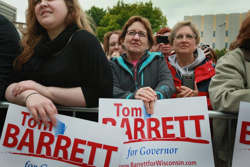 Supporters of Milwaukee Mayor Tom Barrett attend a Get Out The Vote Rally for Barrett who tried to unseat Wisconsin Governor Scott Walker in a recall election.