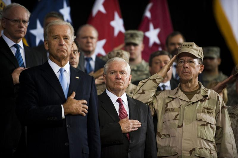 Vice President Joe Biden, US Secretary of Defense Robert Gates and Chairman of the Joint Chiefs Admiral Mike Mullen during the United States Forces-Iraq change of command ceremony in Iraq