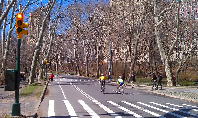Cyclists riding through a red light in Central Park