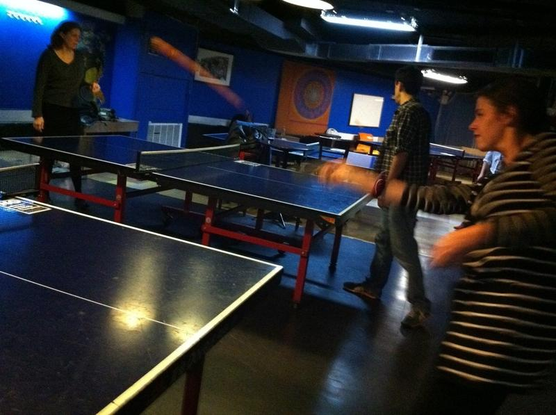 Megan Ryan at the Brian Lehrer Show's semi-regular Intern Ping-Pong Show-Down