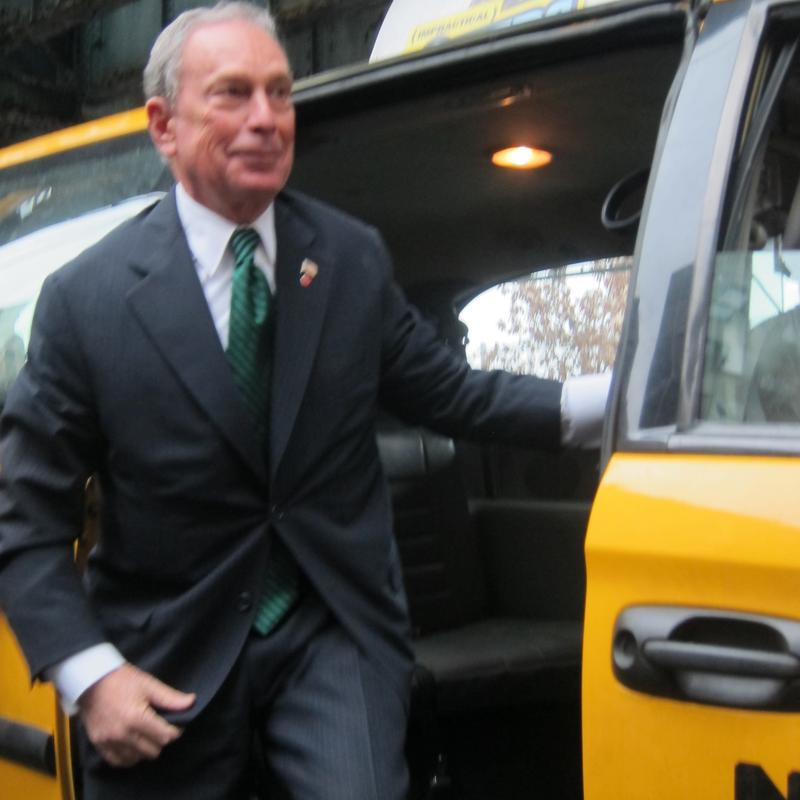 Mayor Bloomberg takes an accessible cab.