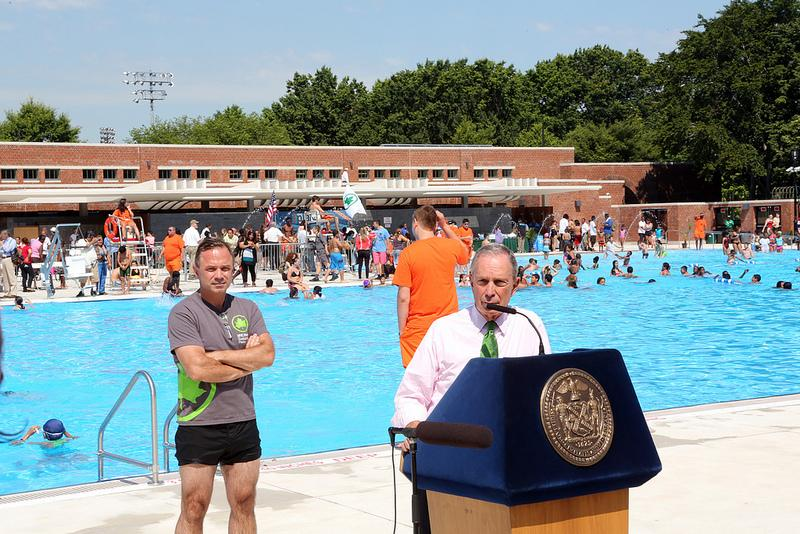 Mayor Bloomberg opens newly renovated McCarren Park Pool and Play Center and announces all city pools are open for summer season.