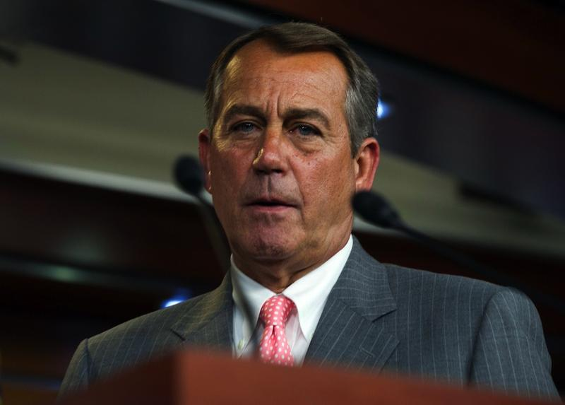 Speaker of the House John Boehner steps up to the podium during a press conference on the Supreme Court's ruling on Affordable Care Act on June 28, 2012.