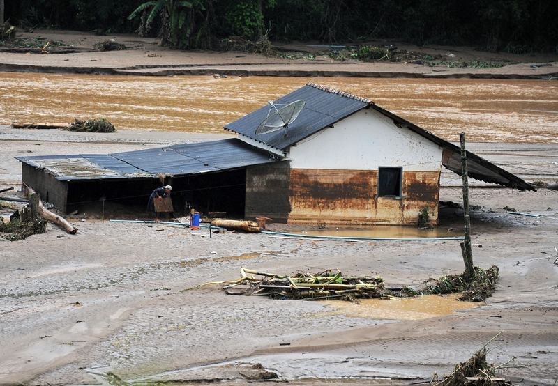 The only house that was not swept by the water after heavy rains at the village of Vieira, 40 km from Teresopolis and 35 km from Nova Friburgo, state of Rio de Janeiro.