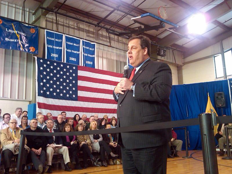 Chris Christie at a town hall meeting in New Jersey