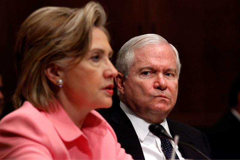 .S. Secretary of State Hillary Clinton (L) testifies before the Senate Foreign Relations Committee with Defense Secretary Robert Gates about the new START (Strategic Arms Reduction Treaty) treaty.