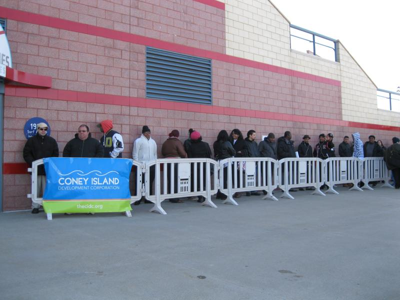 Job seekers line up for the job fair at Coney Island.