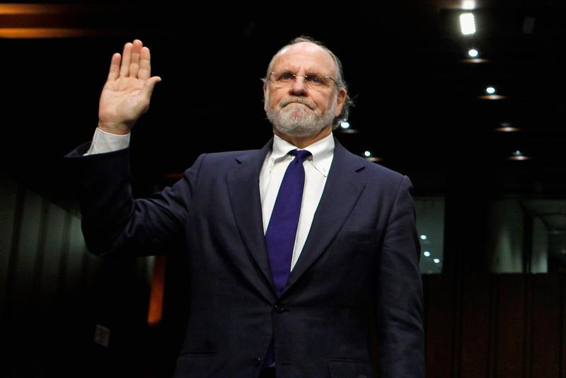 Jon Corzine, former CEO of MF Global, testifies before a Senate Committee.