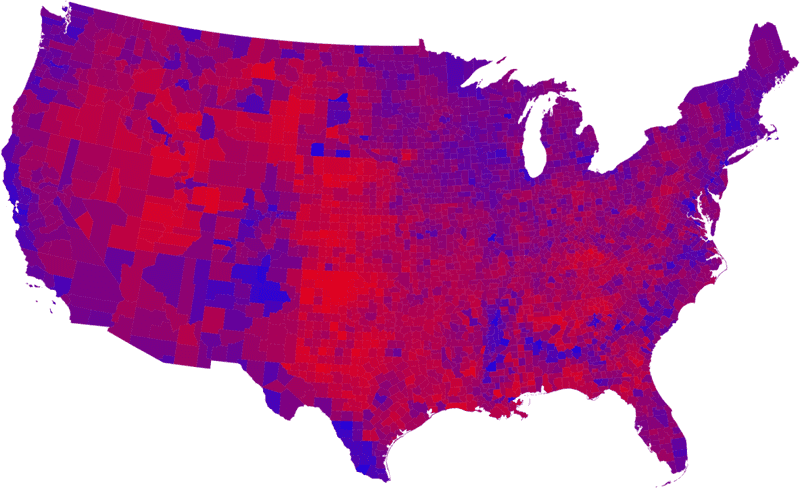 The 2008 presidential election map, showing electoral tendency by shade of purple.