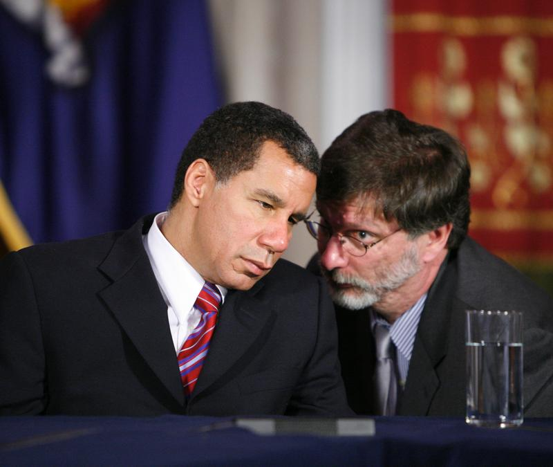 Former New York Governor David Paterson and his budget director, Robert Megna.