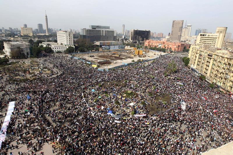 Thousands of Egyptians gather in Cairo's Tahrir Square heeding a call by the opposition for a 'march of a million' on February 1, 2011