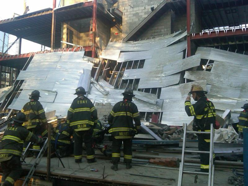 FDNY at scene of building collapse in Brooklyn.