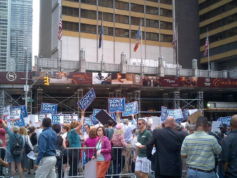 Fracking opponents protested outside a Midtown Manhattan hotel where Gov. Cuomo was attending a conference.