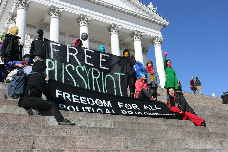 "Protesters call for the release of Russian band ""Pussy Riot"""