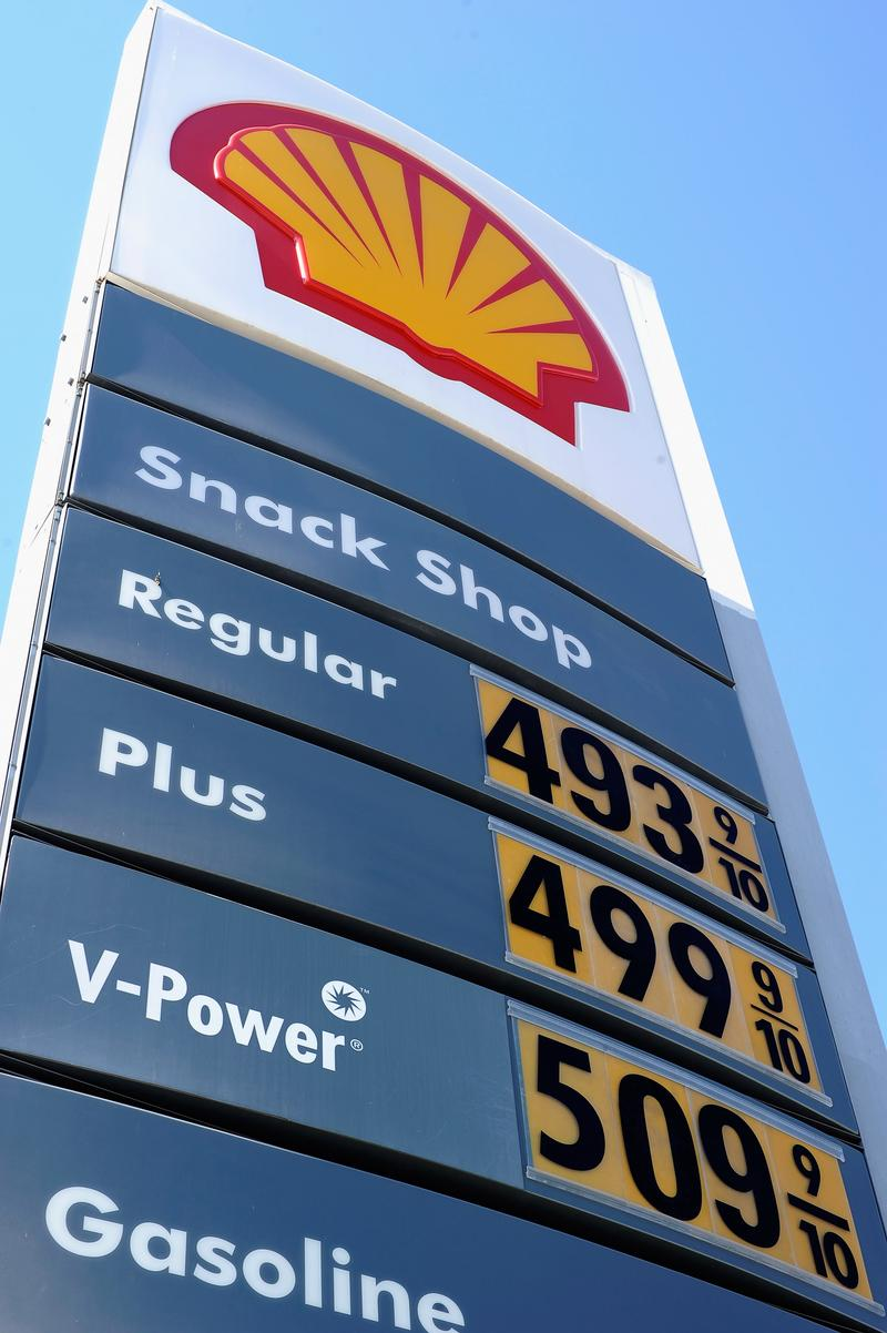 Gas prices over four and five dollars are posted on a Shell station on Olympic Boulevard on February 23, 2012 in Los Angeles, California.