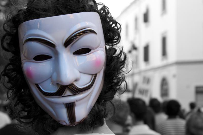 The Guy Fawkes mask, logo for Anonymous and seen at protests around the world.