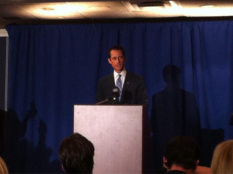 Rep. Anthony Weiner addresses the press in New York