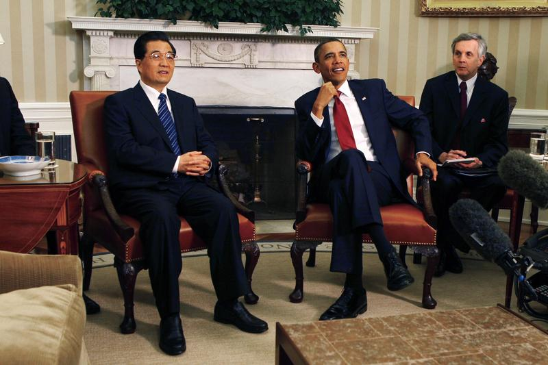 U.S. President Barack Obama and Chinese President Hu Jintao meet in the Oval Office with interpreters at the White House January 19, 2011 in Washington, DC.