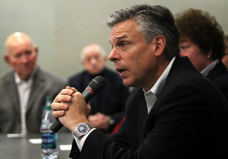 Former Utah Gov. Jon Huntsman speaks to local business owners during a business lunch in Portsmouth, New Hampshire.