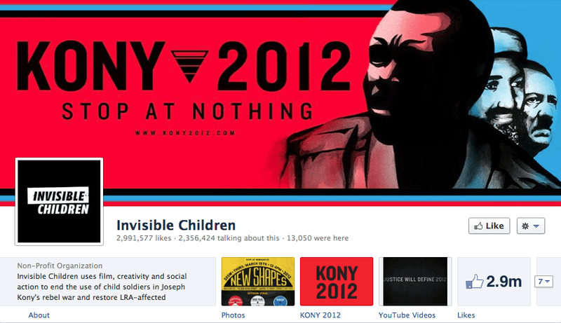 The Invisible Children Facebook page shows 2.3 million actively engaged in conversation.