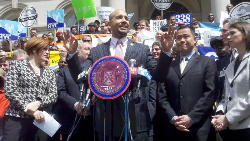 Bronx Borough President Ruben Diaz, Jr. speaks in support of a living wage bill.