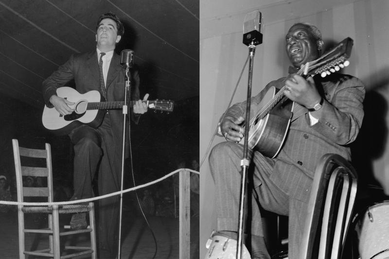 Alan Lomax and Lead Belly on stage at the Mountain Music Festival, Asheville, North Carolina.