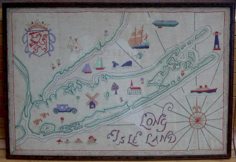 A map of Long Island, NY done in embroidery on linen, from the 1930's