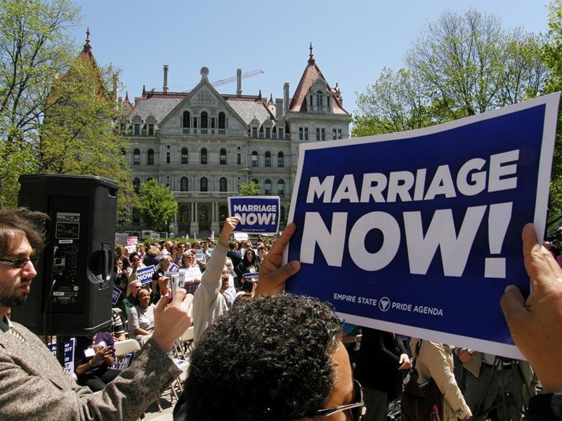 Supporters for same-sex marriage in New York rally at the state capitol building
