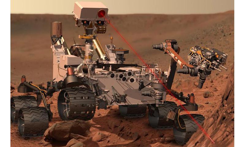 Zap! An artist's interpretation of Curiosity on Mars.
