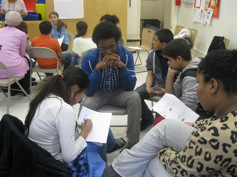Students design their ideal high school at a weekend enrichment program by the Educational Alliance on the Lower East Side. Scott P., center, is an eighth grader who hopes to get into LaGuardia H.S.