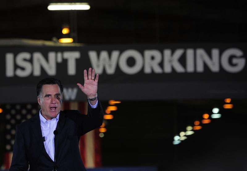 Republican presidential hopeful Mitt Romney delivers a speech ahead of the State of the Union presidential address at National Gypsum Company in Tampa, Florida, January 24, 2012.