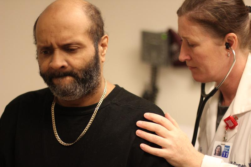 Joseuly Claudio, 53, gets weekly checkups from Nurse Practitioner Mary McDonagh at Mt. Sinai Hospital's PACT clinic.