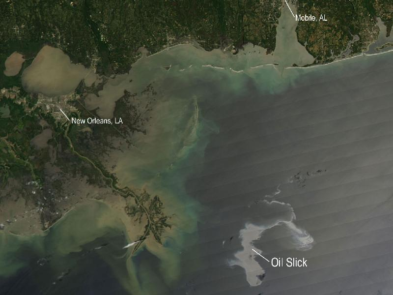 NASA recently released pictures showing the view from space of the oil spill in the Gulf of Mexico.