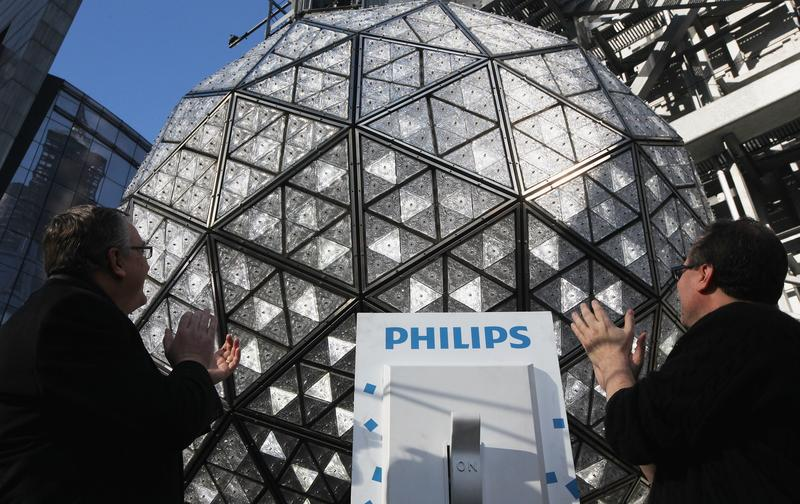 The Times Square New Year's Eve Ball is tested the day before New Year's Eve.