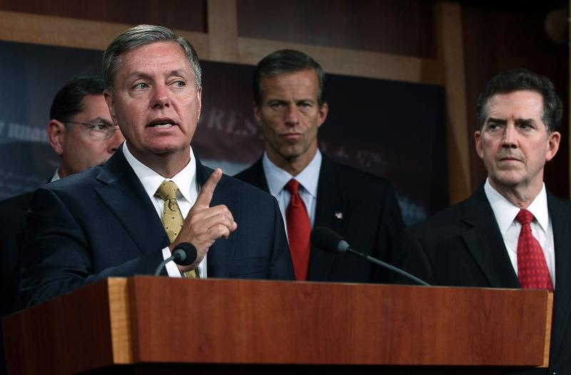 U.S, Sen Lindsay Graham (R-SC) speaks during a press conference on National Labor Relations Board regulations on Capitol Hill September 14, 2011 in Washington, DC.
