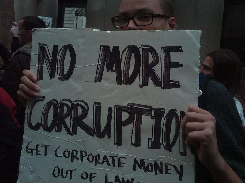 Many demonstrators argue that corporations have too much sway over public officials