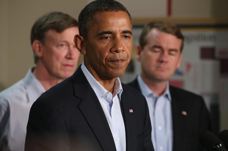 President Barack Obama speaks during a visit to the University of Colorado Hospital July 22, 2012 in Aurora, Colorado.