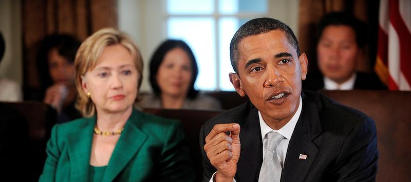President Obama with Secretary of State Hillary Clinton.