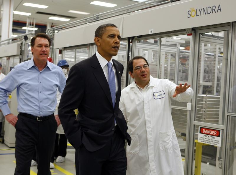President Barack Obama on a tour of the Solyndra solar panel company May 26, 2010 in Fremont, California.