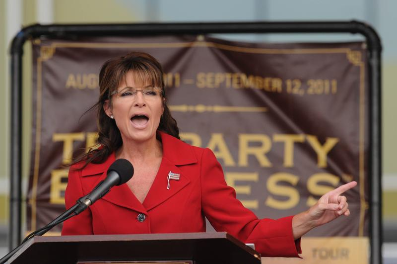 Former Alaska governor Sarah Palin speaks at a Tea Party Express rally on September 5, 2011 at Veteran's Memorial Park in Manchester, New Hampshire.