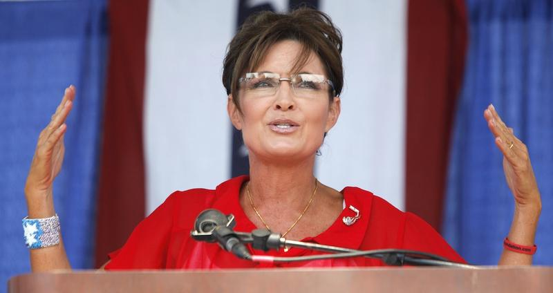 Sarah Palin, former Governor of Alaska and 2008 Republican Vice Presidential candidate speaks at a Tea Party rally at the Wayne County Fairgrounds July 14, 2012 in Belleville, Michigan.
