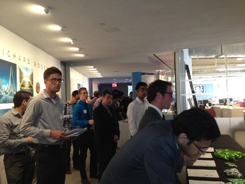 Jobseekers line up to speak with recruiters from Spotify at the third annual NYC Startup Job Fair.