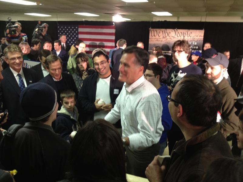 Former Massachusetts Governor Mitt Romney campaigning in Hudson, NH, on December 11.
