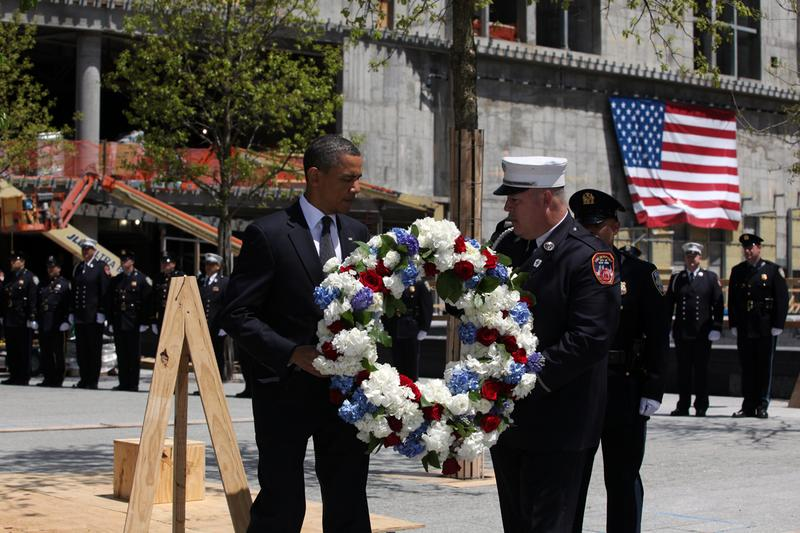 President Barack Obama placed a wreath at the Ground Zero in solemn remembrance of victims of September 11