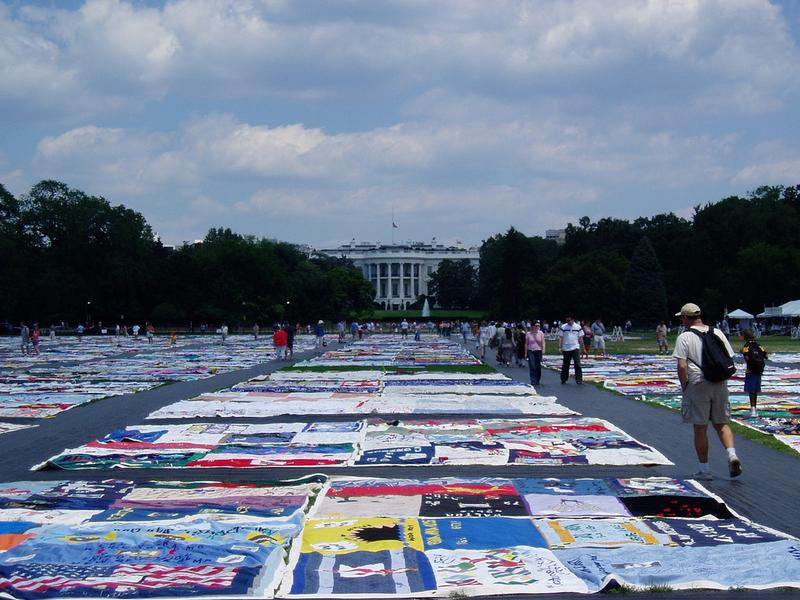 AIDS Quilt in front of the White House in 2004.