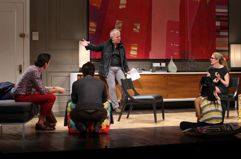 "Alan Rickman (center) and company in a scene from ""Seminar"" on Broadway at the Golden Theater"